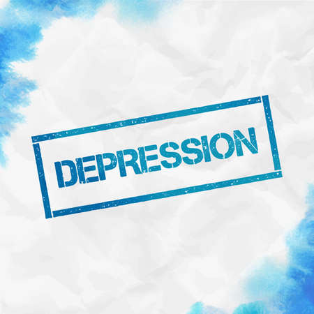Depression rectangular stamp. Textured turquoise seal with text, watercolor style. Vector illustration.