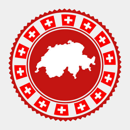 Switzerland flat stamp.  map and flag of Switzerland. Vector illustration.