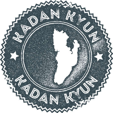 Kadan Kyun map vintage stamp. Retro style handmade label, badge or element for travel souvenirs. Dark blue rubber stamp with island map silhouette. Vector illustration. Illustration