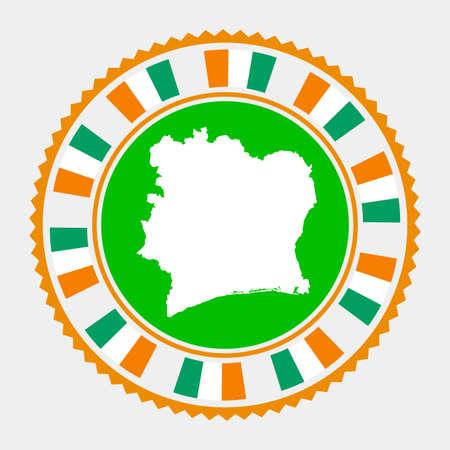 Ivory Coast flat stamp.   map and flag of Ivory Coast. Vector illustration.