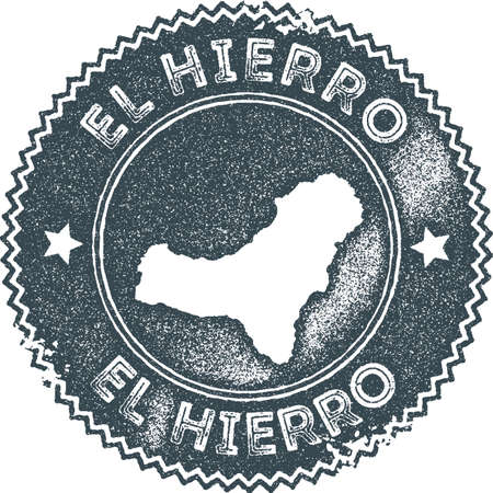El Hierro map vintage stamp. Retro style handmade label, badge or element for travel souvenirs. Dark blue rubber stamp with island map silhouette. Vector illustration.