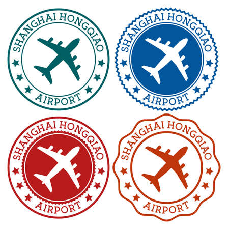 Shanghai Hongqiao Airport. Shanghai airport logo. Flat stamps in material color palette. Vector illustration.