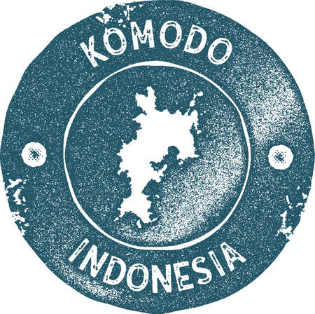 Komodo map vintage stamp. Retro style handmade label, badge or element for travel souvenirs. Blue rubber stamp with island map silhouette. Vector illustration.
