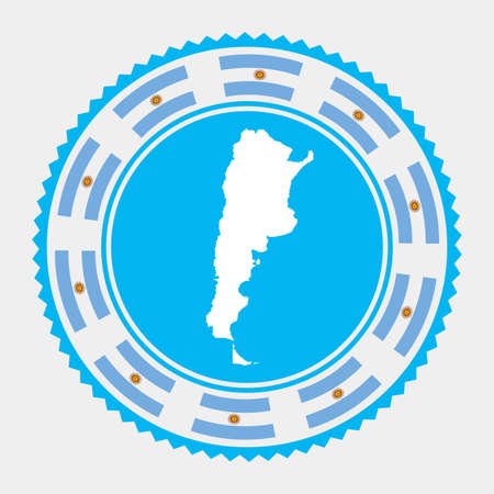 Argentina flat stamp.   map and flag of Argentina. Vector illustration. Ilustrace