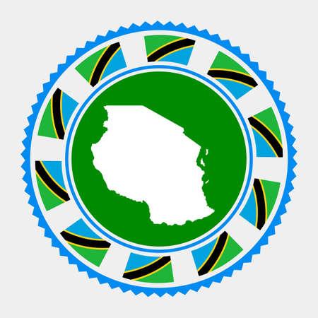 Tanzania flat stamp.   map and flag of Tanzania. Vector illustration.