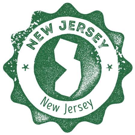 New Jersey map vintage stamp. Retro style handmade label, badge or element for travel souvenirs. Dark green rubber stamp with us state map silhouette. Vector illustration.