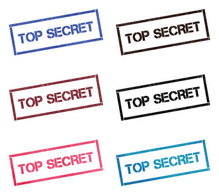 Top Secret rectangular stamp collection. Textured seals with text isolated on white backgound. Stamps in turquoise, red, blue, black and sepia colors. Colourful watercolor style vector illustration. Zdjęcie Seryjne - 124997492