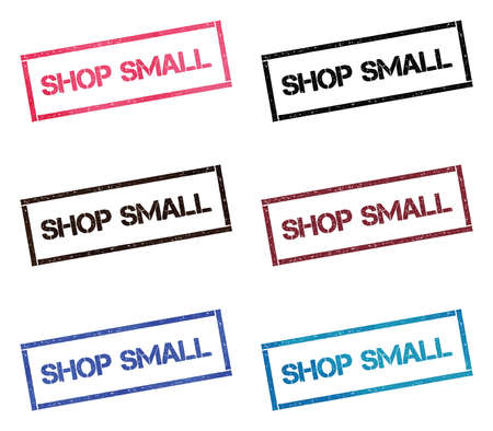 Shop small rectangular stamp collection. Textured seals with text isolated on white backgound. Stamps in turquoise, red, blue, black and sepia colors. Colourful watercolor style vector illustration. Imagens - 124997494