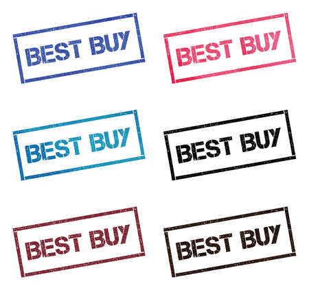 Best Buy rectangular stamp collection. Textured seals with text isolated on white backgound. Stamps in turquoise, red, blue, black and sepia colors. Colourful watercolor style vector illustration. Imagens - 124987031