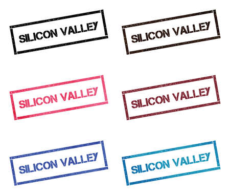 Silicon valley rectangular stamp collection. Textured seals with text isolated on white backgound. Stamps in turquoise, red, blue, black and sepia colors.