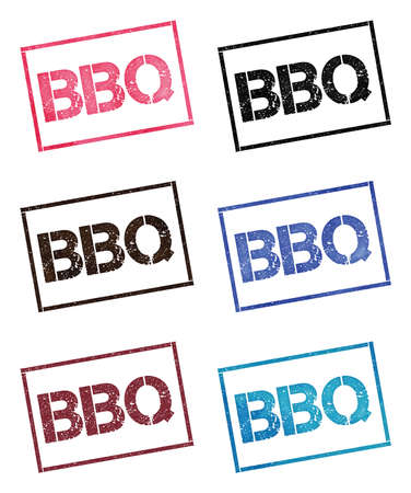 Bbq rectangular stamp collection. Textured seals with text isolated on white backgound. Stamps in turquoise, red, blue, black and sepia colors. Colourful watercolor style vector illustration. Фото со стока - 124987034