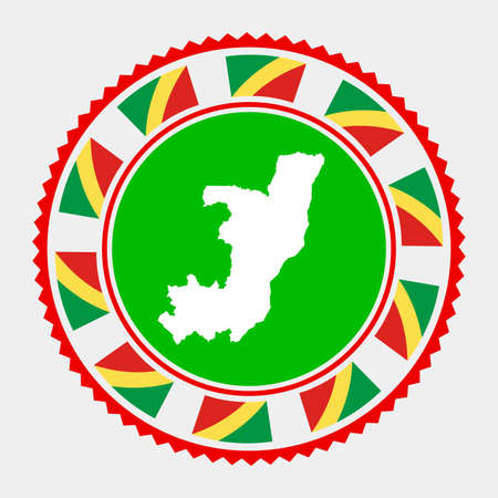Congo flat stamp. map and flag of Congo. Vector illustration.
