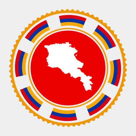 Armenia flat stamp. map and flag of Armenia. Vector illustration. Illustration