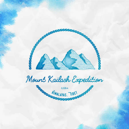 Kailash  Round trekking turquoise vector insignia. Kailash in Himalayas, Tibet outdoor adventure illustration.