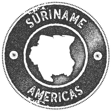 Suriname map vintage stamp. Retro style handmade label, badge or element for travel souvenirs. Dark grey rubber stamp with country map silhouette. Vector illustration.