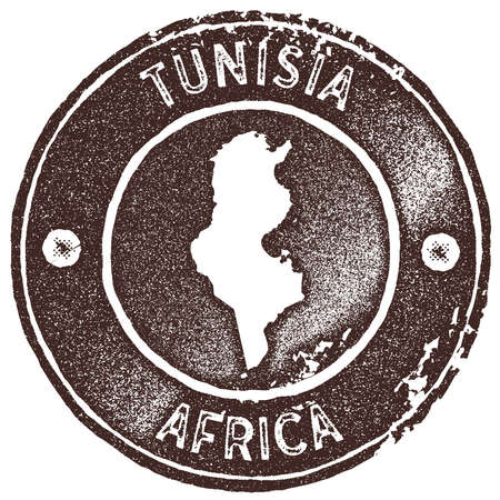 Tunisia map vintage stamp. Retro style handmade label, badge or element for travel souvenirs. Brown rubber stamp with country map silhouette. Vector illustration.