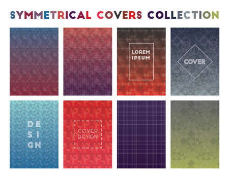 Symmetrical Covers Collection. Admirable geometric patterns. Beauteous background. Vector illustration.
