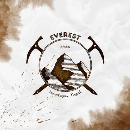 Everest  Climbing mountain sepia vector insignia. Everest in Himalayas, China outdoor adventure illustration.