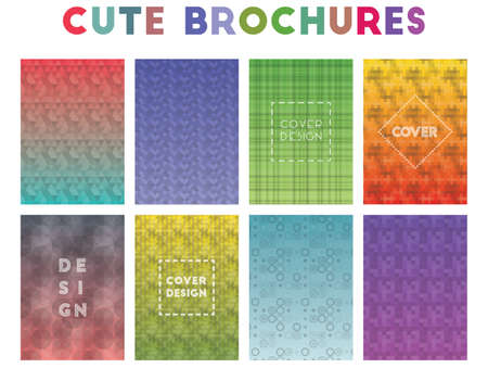 Cute Brochures. Alluring geometric patterns. Memorable background. Vector illustration. Banco de Imagens - 124986155