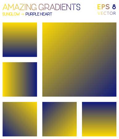 Colorful gradients in sunglow, purple heart color tones. Adorable gradient background, remarkable vector illustration. Ilustração
