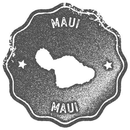 Maui map vintage stamp. Retro style handmade label, badge or element for travel souvenirs. Grey rubber stamp with island map silhouette. Vector illustration.