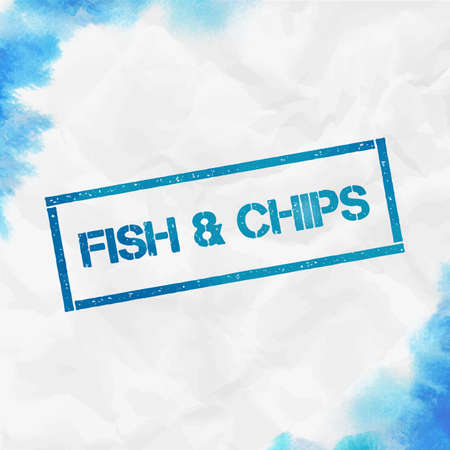Fish & chips rectangular stamp. Textured turquoise seal with text, watercolor style. Vector illustration.