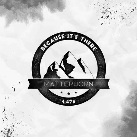 Matterhorn Round climbing black vector insignia. Matterhorn in Alps, Italy outdoor adventure illustration.