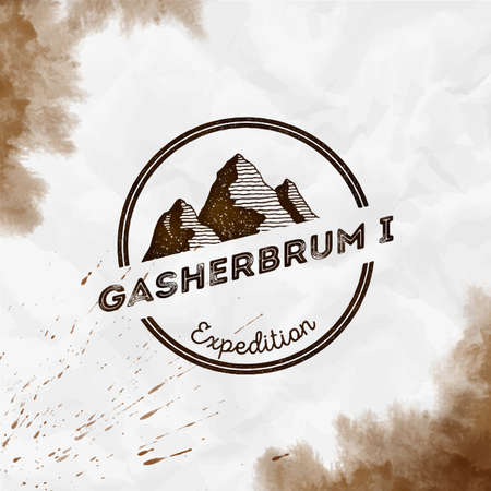 Gasherbrum I  Round expedition sepia vector insignia. Gasherbrum I in Karakoram, Pakistan outdoor adventure illustration.