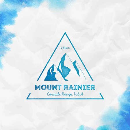 Rainier Triangular mountain turquoise vector insignia. Rainier in Cascade Range, USA outdoor adventure illustration.