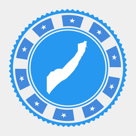 Somalia flat stamp.  map and flag of Somalia. Vector illustration. Vettoriali