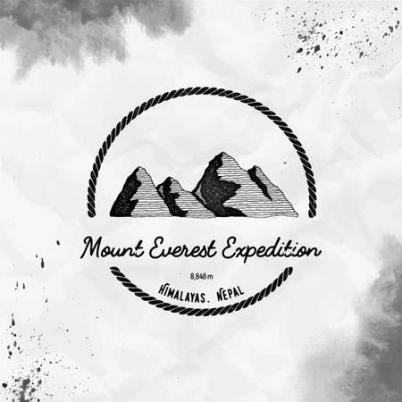 Everest  Round trekking black vector insignia. Everest in Himalayas, China outdoor adventure illustration. Climbing, trekking, hiking, mountaineering and other extreme activities watercolor 向量圖像