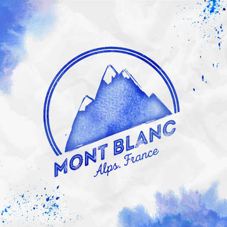 Mont Blanc   Round mountain blue vector insignia. Mont Blanc in Alps, Italy outdoor adventure illustration. Climbing, trekking, hiking, mountaineering and other extreme activities watercolor