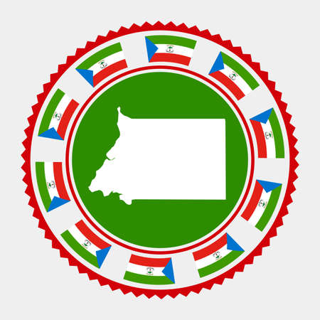 Sello plano de Guinea Ecuatorial. Mapa y bandera de Guinea Ecuatorial. Ilustración de vector.