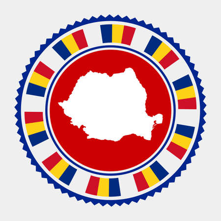 Romania flat stamp.   map and flag of Romania. Vector illustration.