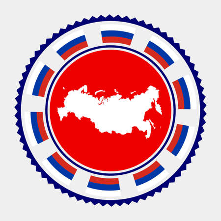 Russia flat stamp.  map and flag of Russia. Vector illustration.