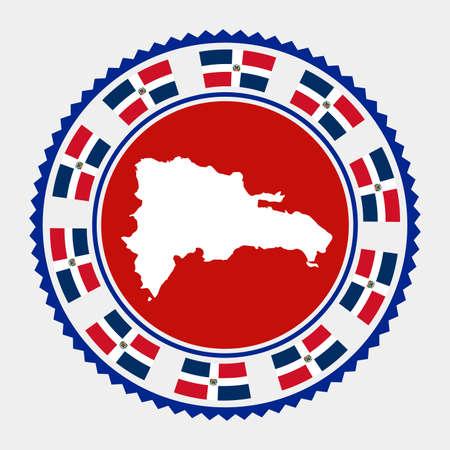 Dominicana flat stamp.  map and flag of Dominicana. Vector illustration. Ilustração