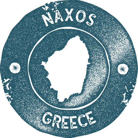 Naxos map vintage stamp. Retro style handmade label, badge or element for travel souvenirs. Blue rubber stamp with island map silhouette. Vector illustration. Illustration