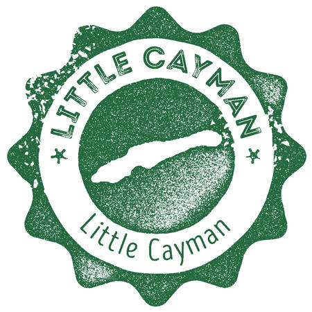 Little Cayman map vintage stamp. Retro style handmade label, badge or element for travel souvenirs. Dark green rubber stamp with island map silhouette. Vector illustration.
