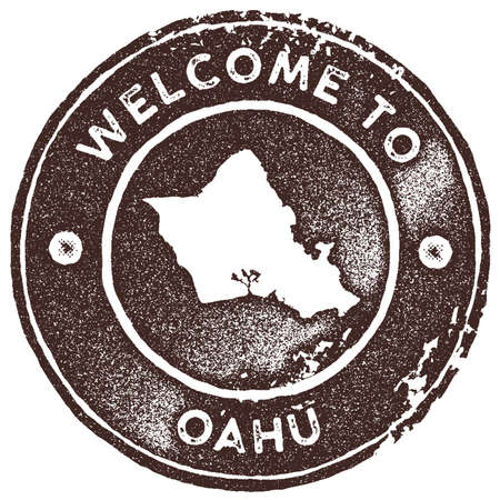 Oahu map vintage stamp. Retro style handmade label, badge or element for travel souvenirs. Brown rubber stamp with island map silhouette. Vector illustration.