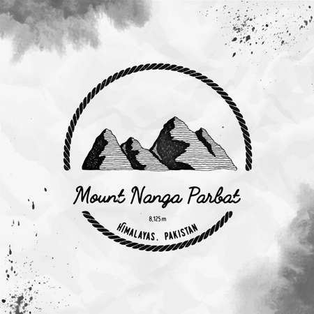 Nanga Parbat  Round trekking black vector insignia. Nanga Parbat in Himalayas, Pakistan outdoor adventure illustration.