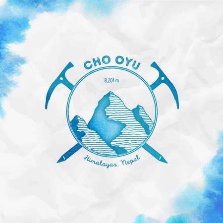 Cho Oyu   Climbing mountain turquoise vector insignia. Cho Oyu in Himalayas, Nepal outdoor adventure illustration. Illustration