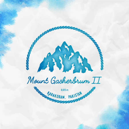 Gasherbrum II  Round hiking turquoise vector insignia. Gasherbrum II in Karakoram, Pakistan outdoor adventure illustration. Ilustração