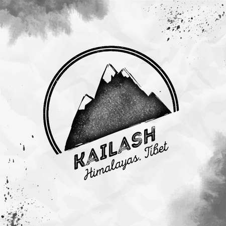 Kailash  Round mountain black vector insignia. Kailash in Himalayas, Tibet outdoor adventure illustration. Climbing, trekking, hiking, mountaineering and other extreme activities