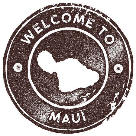 Maui map vintage stamp. Retro style handmade label, badge or element for travel souvenirs. Brown rubber stamp with island map silhouette. Vector illustration.