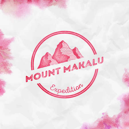 Makalu Round expedition red vector insignia. Makalu in Himalayas, Nepal outdoor adventure illustration. Climbing, trekking, hiking, mountaineering and other extreme activities watercolor Illustration