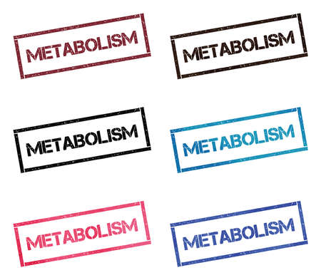 Metabolism rectangular stamp collection. Textured seals with text isolated on white backgound. Stamps in turquoise, red, blue, black and sepia colors. Colourful watercolor style vector illustration. Ilustração