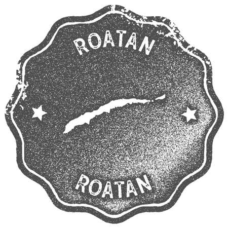 Roatan map vintage stamp. Retro style handmade label, badge or element for travel souvenirs. Grey rubber stamp with island map silhouette. Vector illustration.