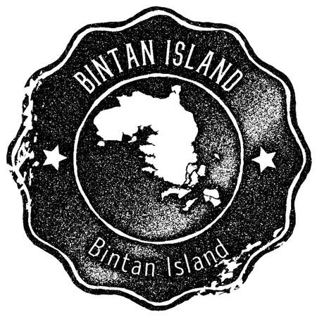 Bintan Island map vintage stamp. Retro style handmade label, badge or element for travel souvenirs. Black rubber stamp with island map silhouette. Vector illustration.