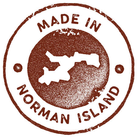 Norman Island map vintage stamp. Retro style handmade label, badge or element for travel souvenirs. Red rubber stamp with island map silhouette. Vector illustration.