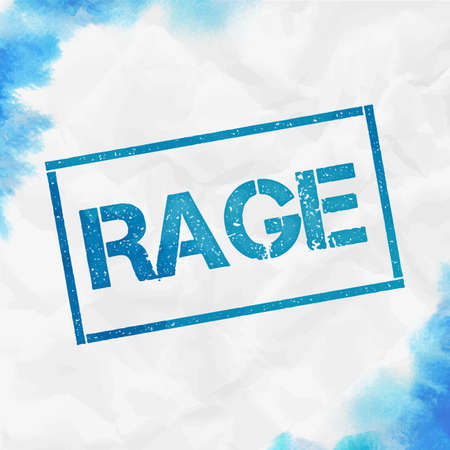 Rage rectangular stamp. Textured turquoise seal with text, watercolor style. Vector illustration.